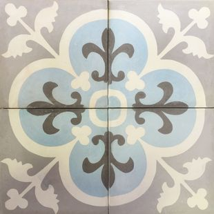 Cement Encaustic Tile Marrakesh Design Grey Centre - 988