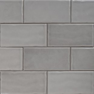 Subway Pale Grey Gloss Wall Tiles 150×75 Classico Textured in Stretcher Bond Design