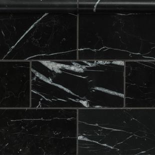 Nero Marquina Honed Marble 150×75 and Bead Border