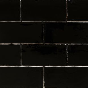 Handmade Black Gloss Natura Wall Subway Tiles 130×65 in Stretcher Bond Design