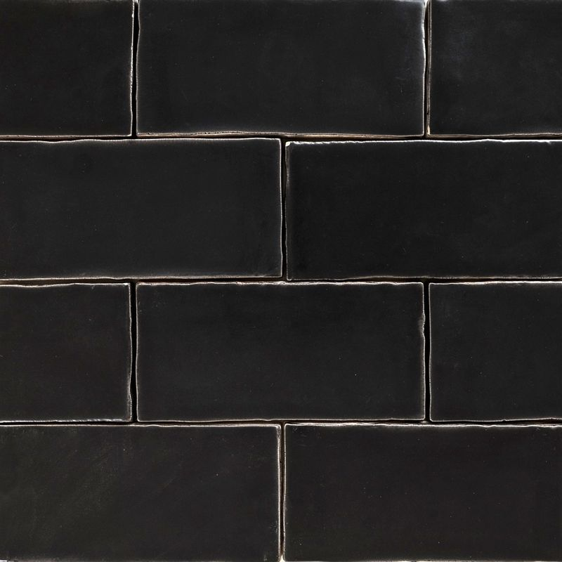 Handmade Black Matt Natura Wall Subway Tiles 13065 In