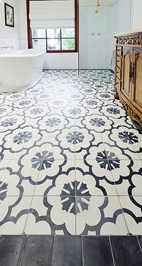 Heritage Bathroom with Cement Encaustic Floor