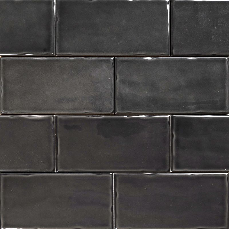 Subway Anthracite Gloss Wall Tiles 150 75 Classico Textured In