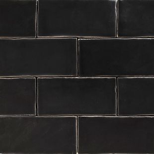 Handmade Black Matt Natura Wall Subway Tiles 130×65 in Stretcher Bond Design