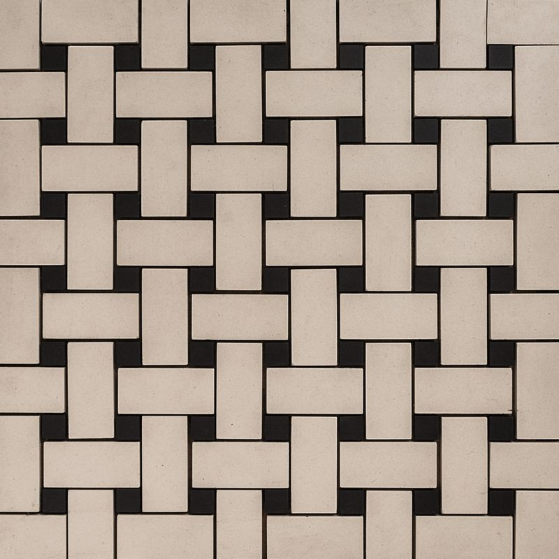 Mosaic - Basket Weave French Porcelain – White & Black
