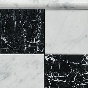 Carrara Goya & Nero Marquina Honed Marble 150×75 and Bead Border