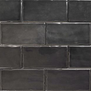 Subway Anthracite Gloss Wall Tiles 150×75 Classico Textured in Stretcher Bond Design