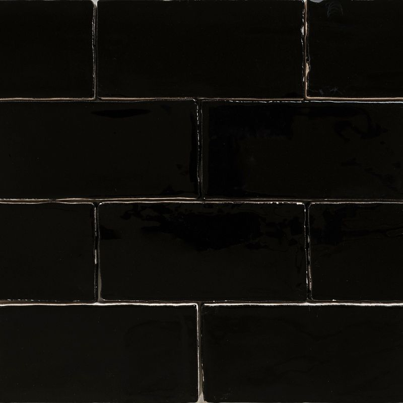 Handmade black gloss natura wall subway tiles 130 215 65 in