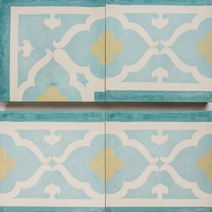 Cement Encaustic Tile Casbah Border Design — 973 and Corner 974