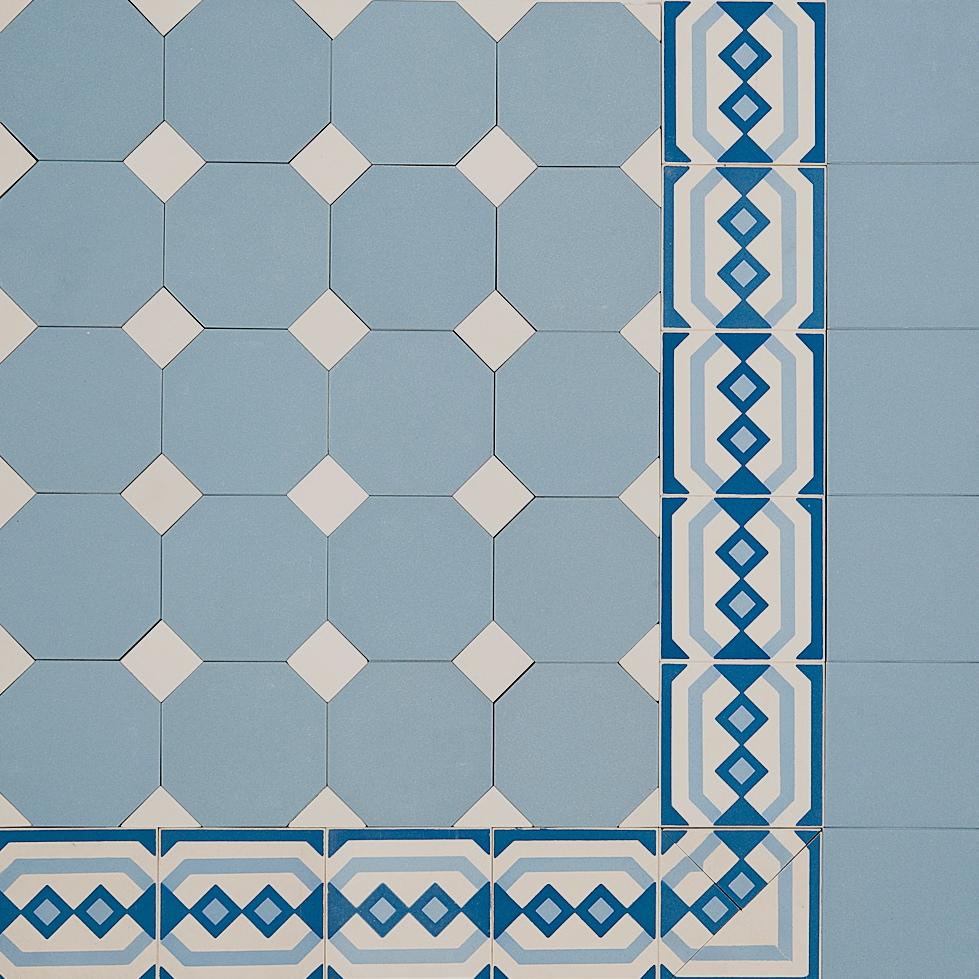 Octagon & Dot Design & Encaustic Border ~ Eco Tile Factory