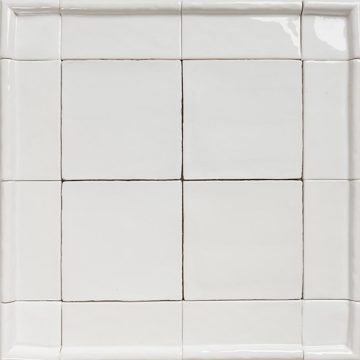 Handmade Natura White Gloss Tiles With Border Eco Tile
