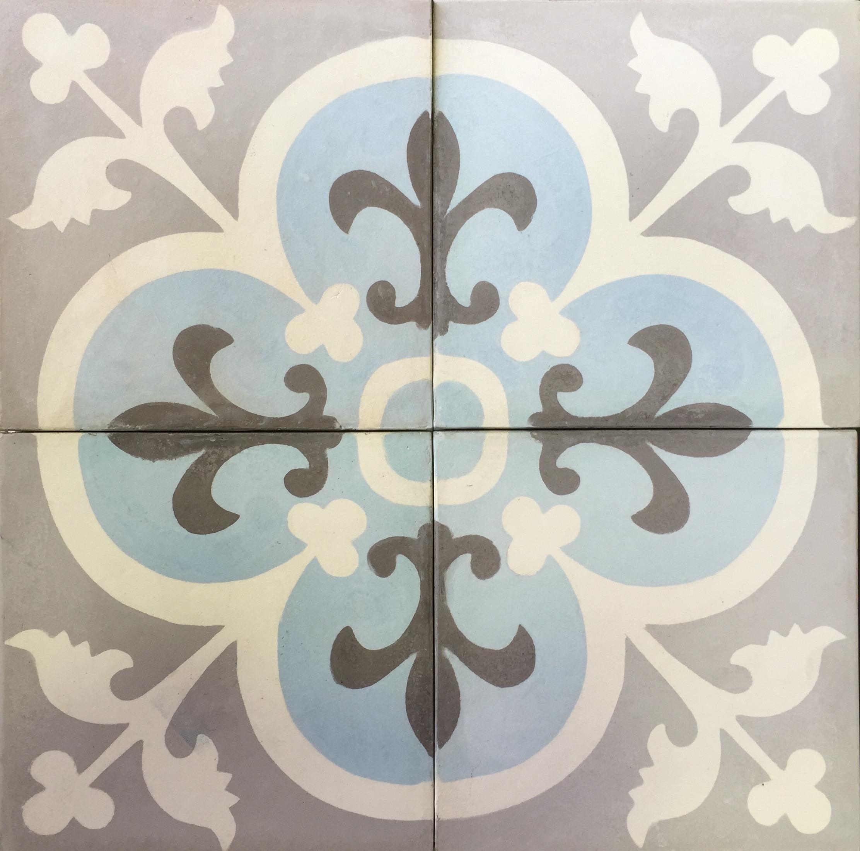 Cement Encaustic Tile Marrakesh Design Grey Centre 988